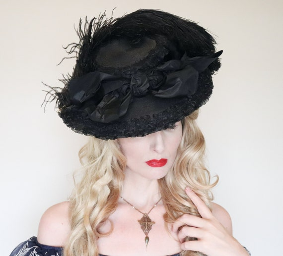 Antique Hat/ Edwardian hat / Wide brim / Black Fea