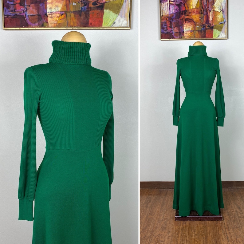 Vintage sweater dress / 1960s green dress / Designer / Maxi image 0