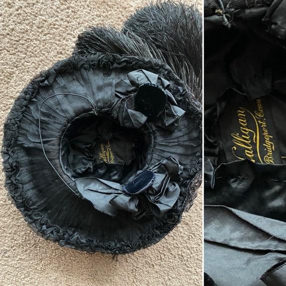 Antique Hat/ Edwardian hat / Wide brim / Black Fe… - image 7