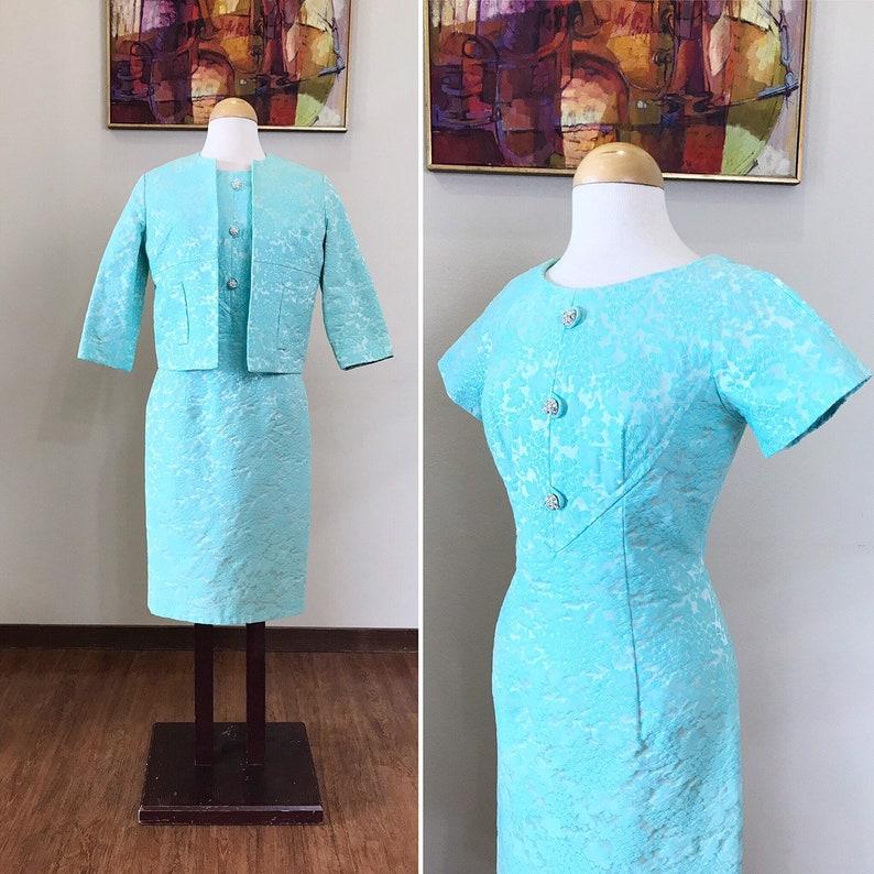 Vintage 1950s dress / 50s Cropped jacket / Aqua brocade dress image 0