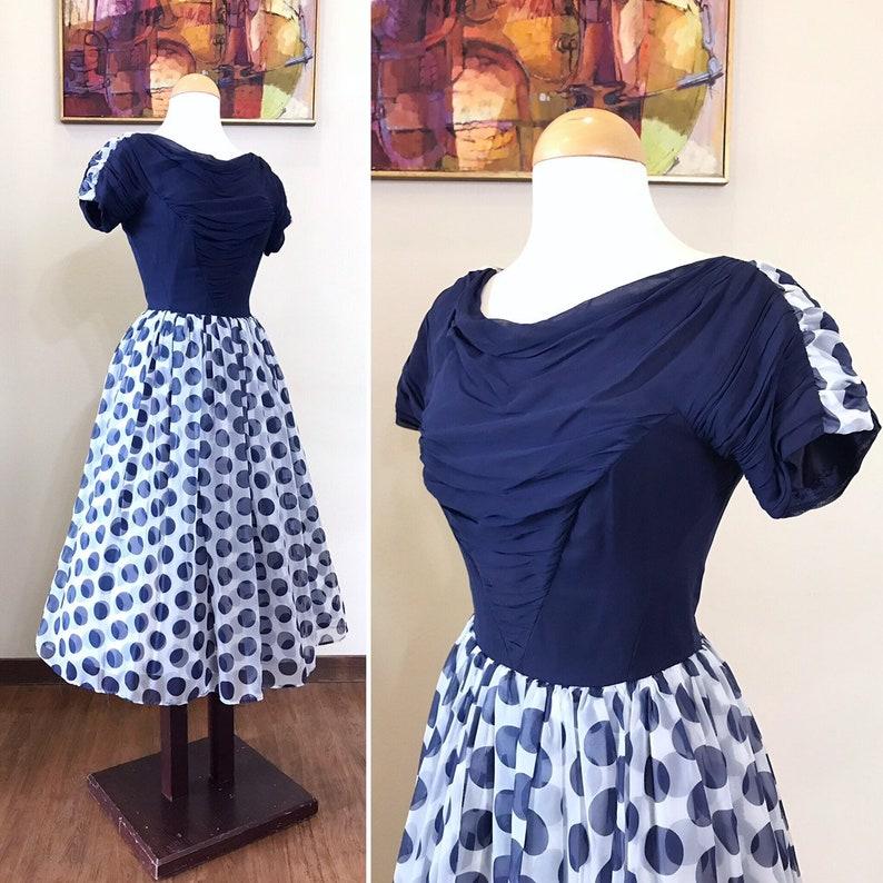 Vintage 1950s Dress / 50s polka dot dress / Navy blue / image 0