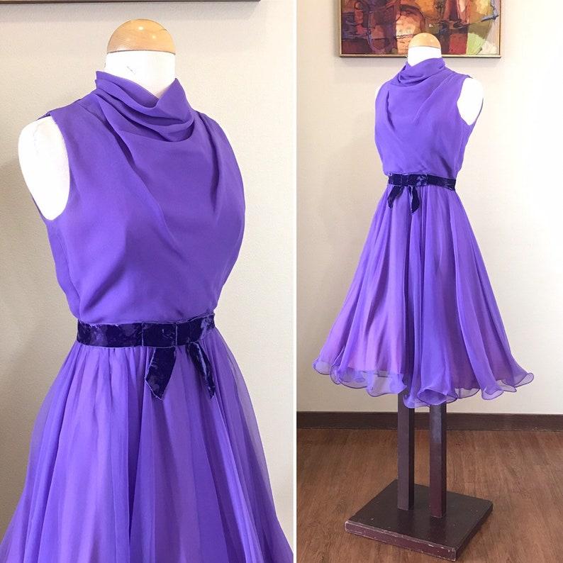 Vintage 1960s Dress / 60s sheer chiffon dress / Purple dress / image 0