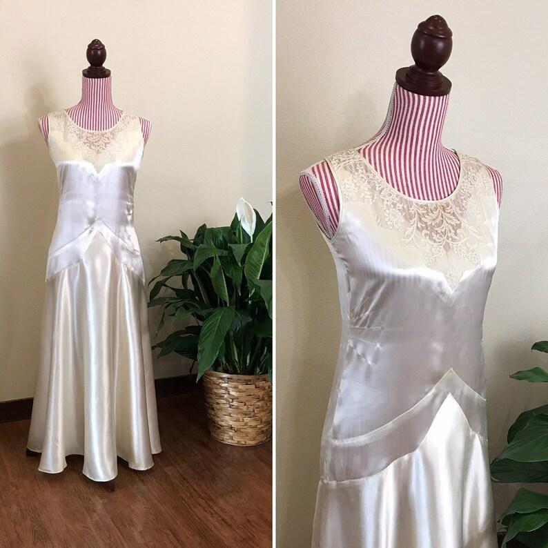 Vintage 1930s Dress / 30s Satin gown / Cream / Lace trim image 0
