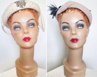 Vintage 1950s Hats / Lot of 2 / Felt wool / Feathers / Rhinestones / Netting / Beads