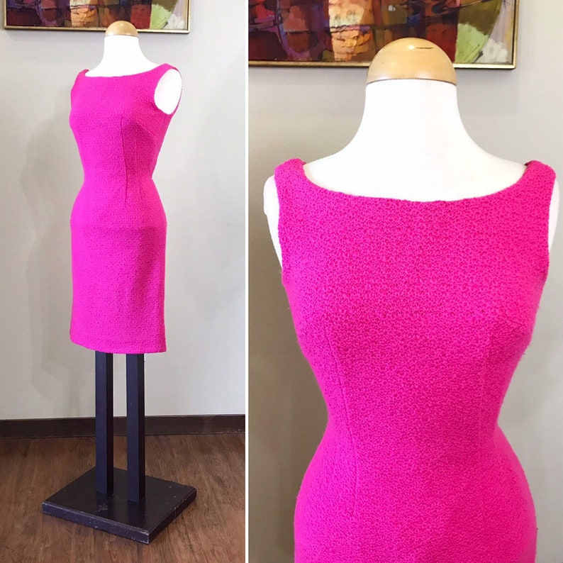 Vintage 1950s Dress / 50s fitted dress / Hot pink / wiggle image 0