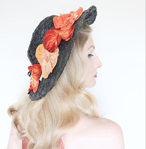 Vintage 1930s Hat / Wide brim straw hat / Velvet f