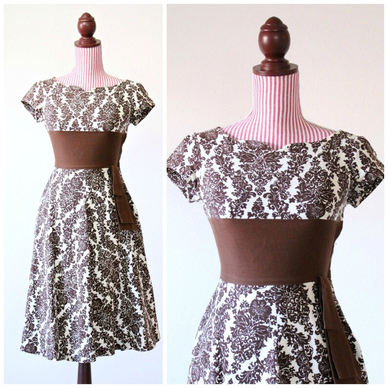 Vintage 1950s Dress / 50s Dress / Chocolate / Cotton / XSMALL image 0