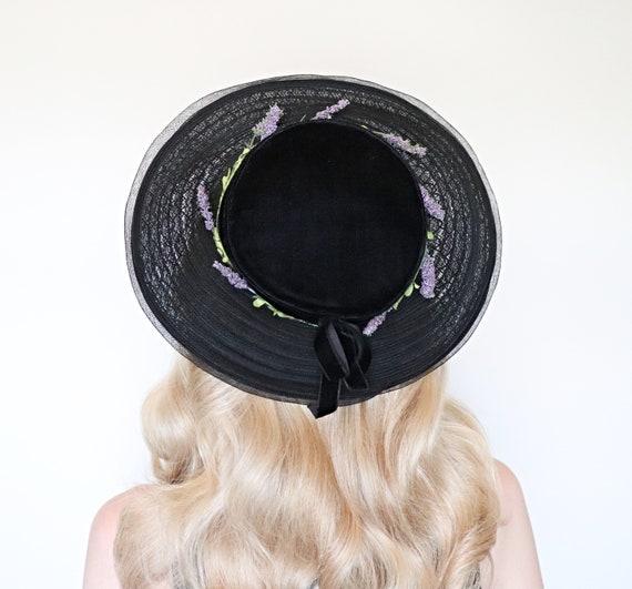 Vintage 1950s Hat / 50s wide brim hat / Lavender /