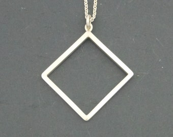 Sterling Silver Square Pendant Minimalist Pendant Silversmith Silver Square Necklace Gift For Him Modern Silver Jewelry Artisan Jewelry