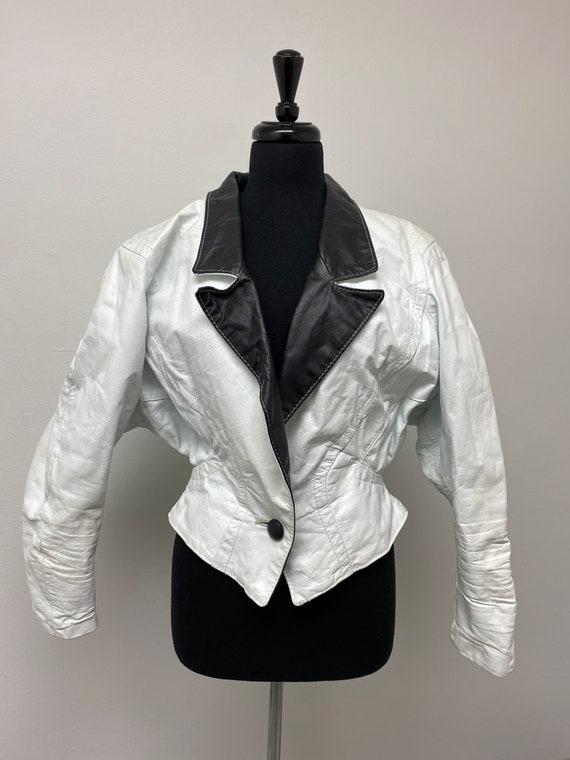 Vintage White and Black Color Block Leather Jacket