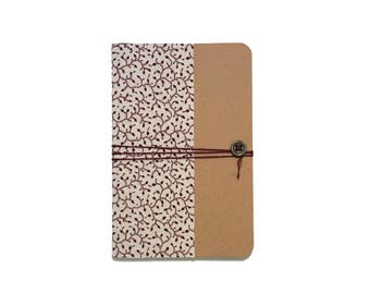 A6 - Burgundy foliage pattern fabric cover notebook