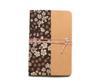 Notebook A6 Format - flower fabric cover - school supplies