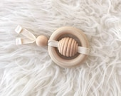 Bee Teether - Honey Bee Teether - Montessori Baby Toy - Baby Shower Gift - Teething Toy - Wooden Toy - Baby Gift -