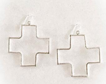 Bohemian Cross Earrings in Silver