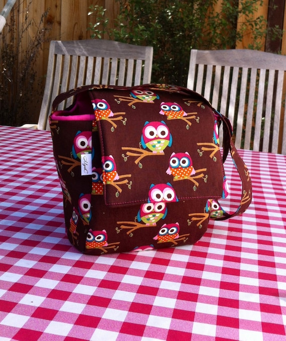 Insulated Lunch Bag Owls, School Lunch Tote, Work Lunch Tote Brown and Pink  with Cute Owls