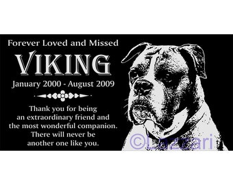 Personalized Boxer Pet Dog Granite Memorial 12x6 Inch Engraved Grave Marker  Plaque