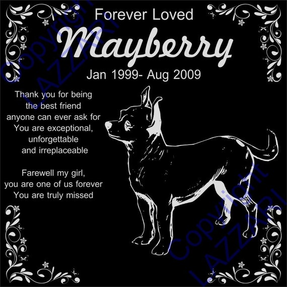 Personalized Chihuahua Granite Pet Memorial 12x12 Custom Engraved Grave Marker Plaque Mayberry