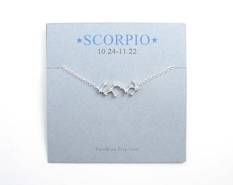 2b1162ce7 Zodiac Jewelry ~ Constellation Necklace ~ Scorpio Necklace ~ Sagittarius ~  Taurus ~ Zodiac Sign Necklace ~ Sterling Silver ~ Astrology