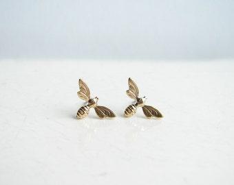 Teeny Tiny Honey Bee Earrings. Brass Bee Stud Earrings. Simple Modern Jewelry
