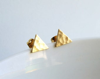 Teeny Tiny Gold Triangle Earrings. Hammered Brass Triangle Stud Earrings. Simple Modern Jewelry