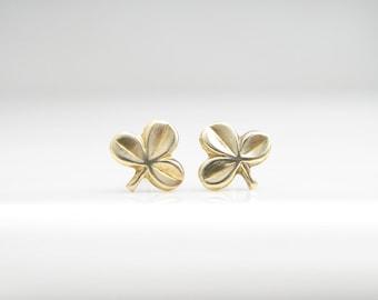 Teeny Tiny Sprout Earrings. Brass Small Sprout Stud Earrings. Simple Modern Everyday Jewelry by PetitBlue