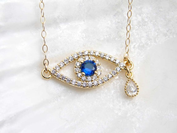 Evil Eye Necklace. Teardrop Evil Eye. Cubic Zirconia Blue Eye  f11fe4fea9