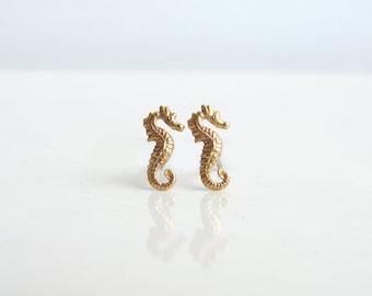 Teeny Tiny Seahorse Earrings. Brass Seahorse Stud Earrings. Nautical Jewelry. Bridesmaid Gift. Simple Modern Jewelry