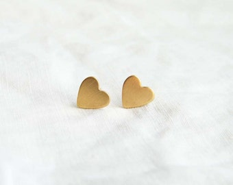 Tiny Gold Heart Stud Earrings. Small Brass Heart Earrings. Bridesmaid Gift. Simple Modern Jewelry