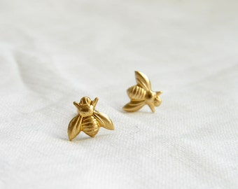 Teeny Tiny Gold Bee Earrings. Bee Stud Earrings. Simple Modern Jewelry by PetitBlue