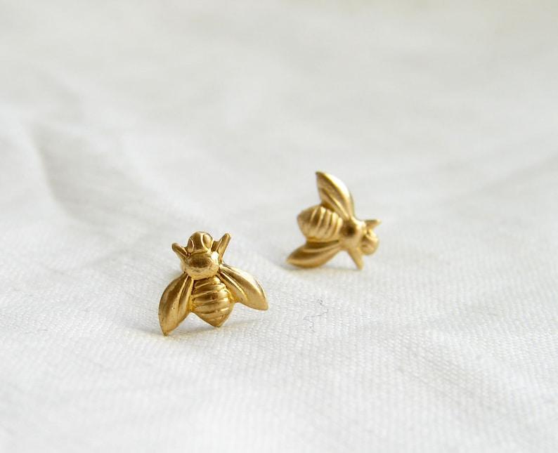 3b12bfa7c Teeny Tiny Gold Bee Earrings. Bee Stud Earrings. Simple Modern   Etsy