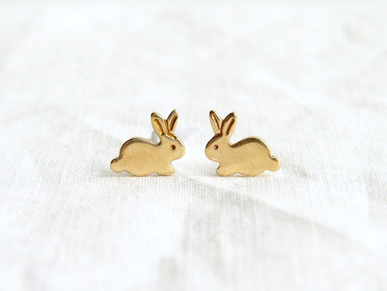 Teeny Tiny Gold Bunny stud Earrings  Brass Easter Rabbit Stud image 0
