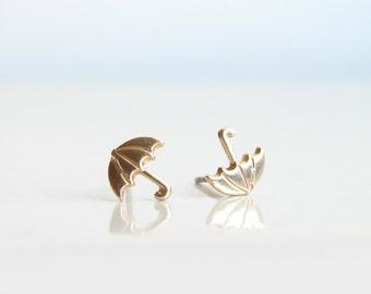 Teeny Tiny Gold Umbrella Earrings. Simple Modern Jewelry by PetitBlue