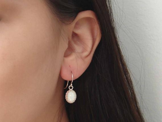 Bridesmaid Earrings Crown Setting October Birthday Opal Earrings Dangle Earrings Sterling Silver White Opal Earrings