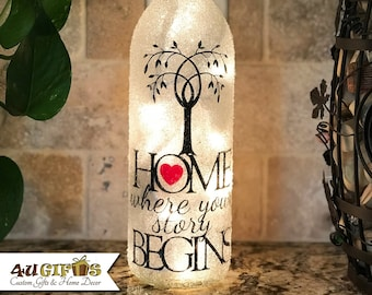 02e451668cce HOME - Where Your Story Begins - Wine Bottle Light