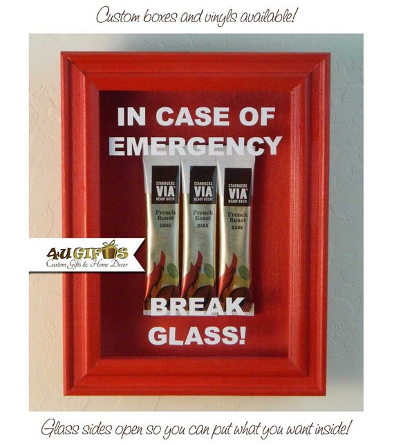 In case of emergency break glass shadow box coffee etsy image 0 maxwellsz