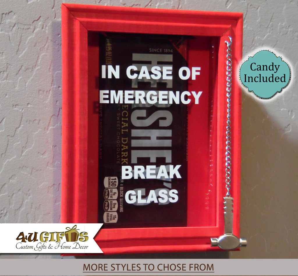 In Case Of Emergency Break Glass Shadow Box Chocolate Lovers Etsy