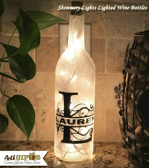 Personalised Mr Mrs Light Up Wine Bottle Center Piece Names Date Wedding Gift