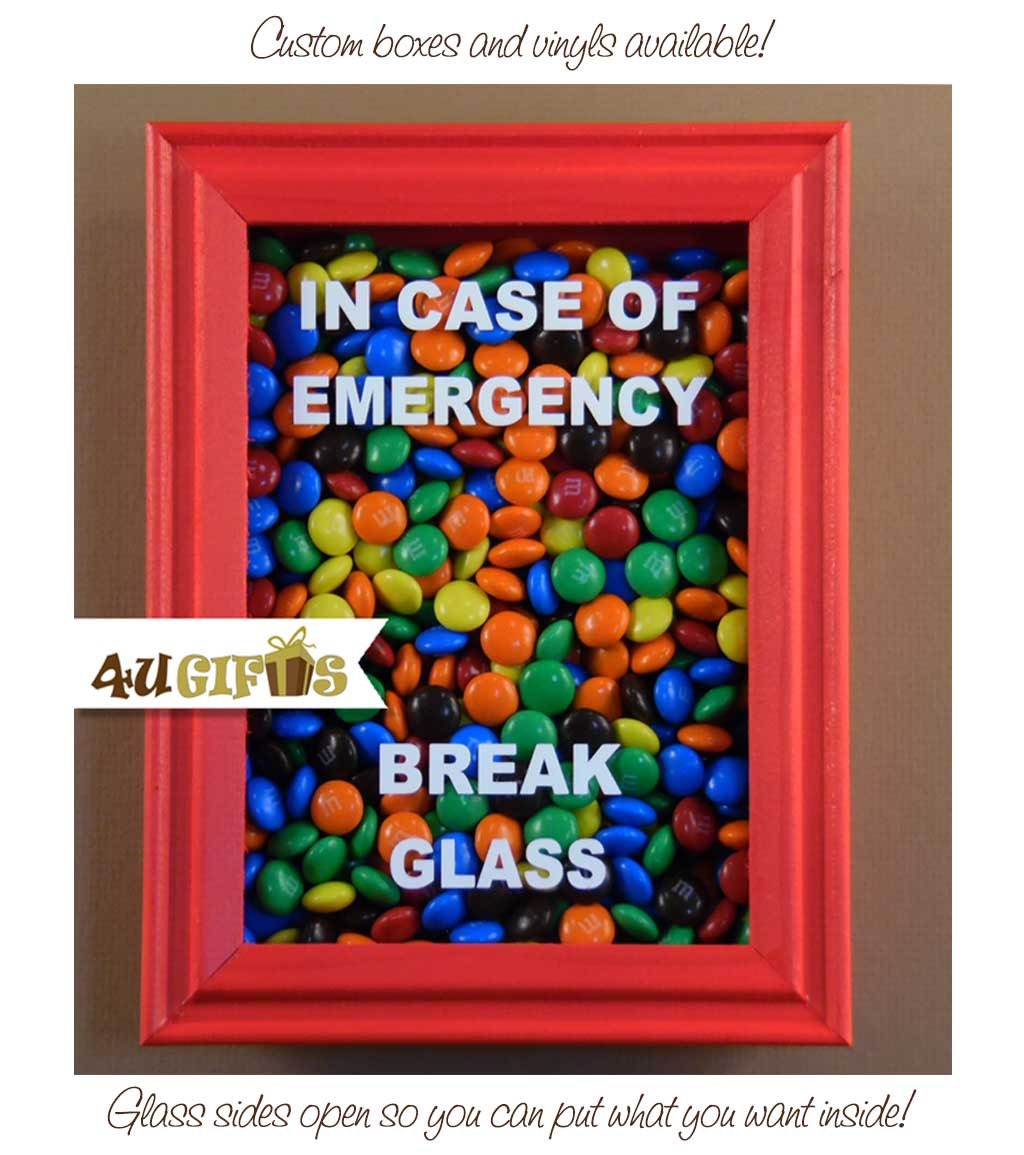 In Case Of Emergency Break Glass Shadow Box Mm Candy Etsy