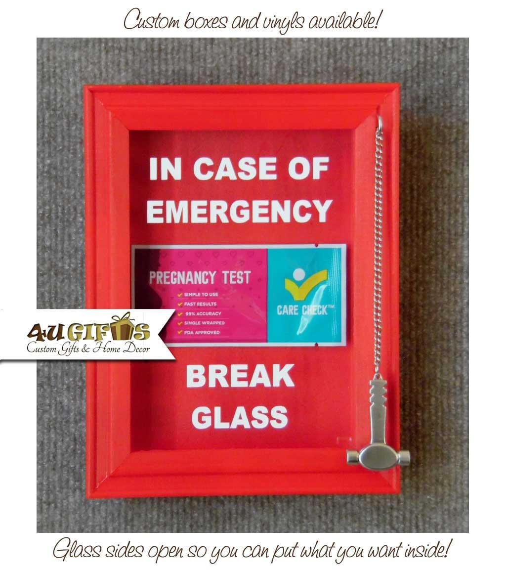 En caso de emergencia romper vidrio caja de sombra regalo de