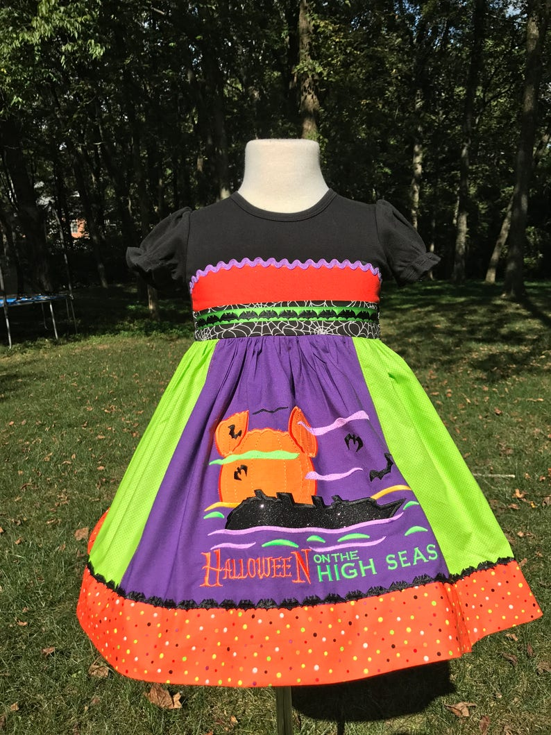 By Hoot n Hollar Children/'s Clothing Halloween on the High Seas Deluxe Witch Shirt Dress for Girls  Sizes 12m-12yrs