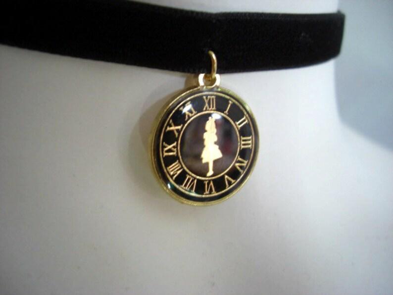 Black clock charm Black Velvet Ribbon Choker with Alice in Wonderland Pendant