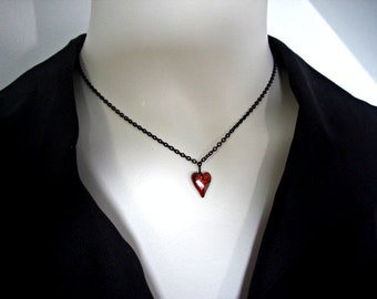 Swarovski Heart Crystal, Matte Black Necklace, Gift for her, Red Heart Black Chain Necklace