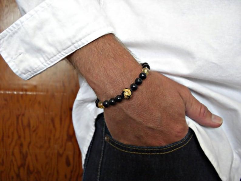 Black Onyx Engraved Golden Dragon Black Onyx Golden Rutilated Quartz Gift for him Men/'s gift Dragon Men/'s Bracelet Men/'s Jewelry