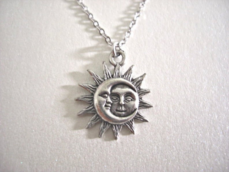 fbe35eac271a Silver Sun and Moon Pewter Charm Celestial Dainty Necklace