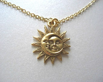 Gold Sun and Moon Pewter Charm Celestial Dainty Necklace, 24kt gold plated charm - Love & Friendship, Soulmate, Gift for her