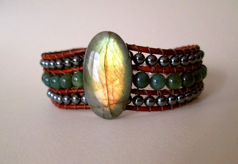 Moss AgateHematite bracelet Mens Brown Leather Beaded Gemstone Cuff Bracelet jewelry for men Labradorite jewelry