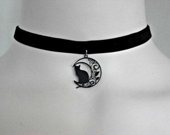 Cat & Moon Matte Black Filigree Charm, Black Velvet Ribbon / Black Leather Choker, Gift for her
