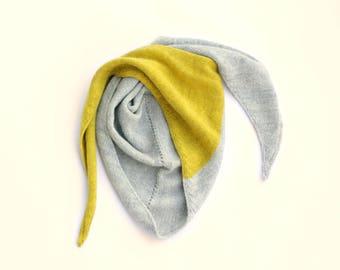 Triangular knitted scarf - kids bandana scarf - Knitted scarf unisex - alpaca scarf