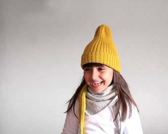 Ribbed hat in alpaca wool blend - Knitted beanie - Ribbed hat - Toddler cap - Kids knitted hat - fisherman hat - winter hat