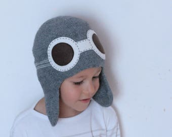 Pilot hat for kids - Child knit hat - Aviator hat with goggles - Baby Flyer knit hat - Boys knit hat - Toddler  hat
